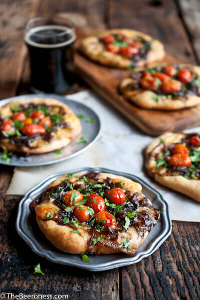 Porter-Caramelized-Flatbreads-with-Smoked-Gouda-and-Roasted-Tomatoes_