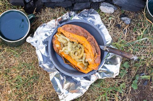 Onion Stuffed Sweet Potato