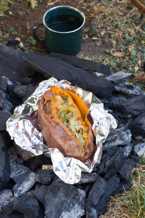 Onion Stuffed Sweet Potatoes