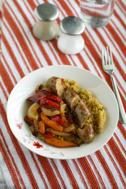 A-simple-and-tasty-dinner-chicken-sausages-peppers-onions-and-curry-spiced-quinoa.-