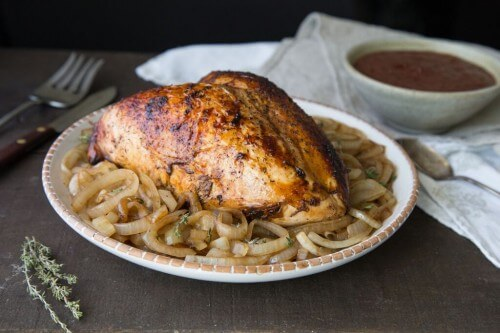 Roast Turkey Breast with Balsamic Caramelized Onions and Glazed Dried Cranberries
