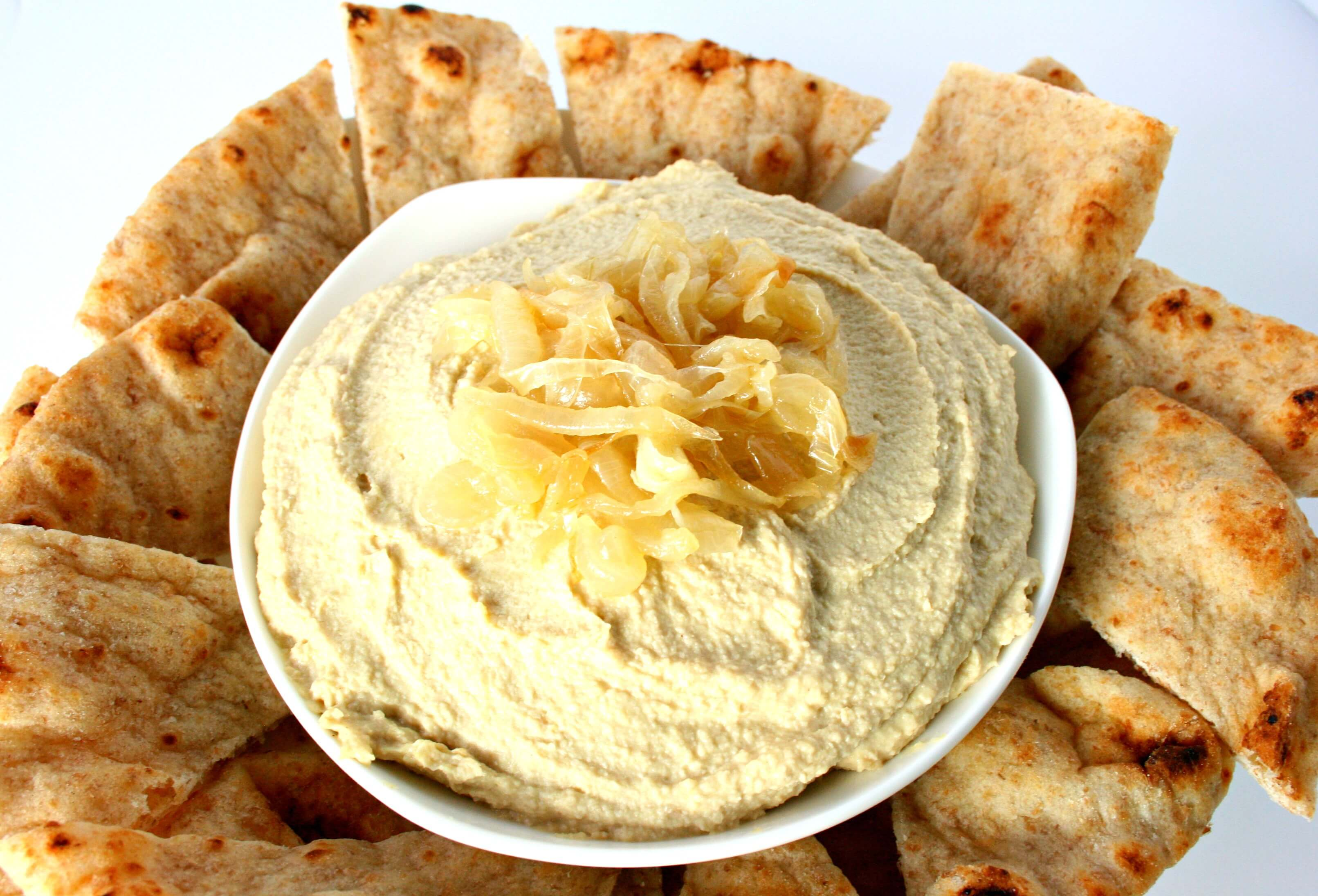 Caramelized Sweet Onion Hummus via National Onion Association