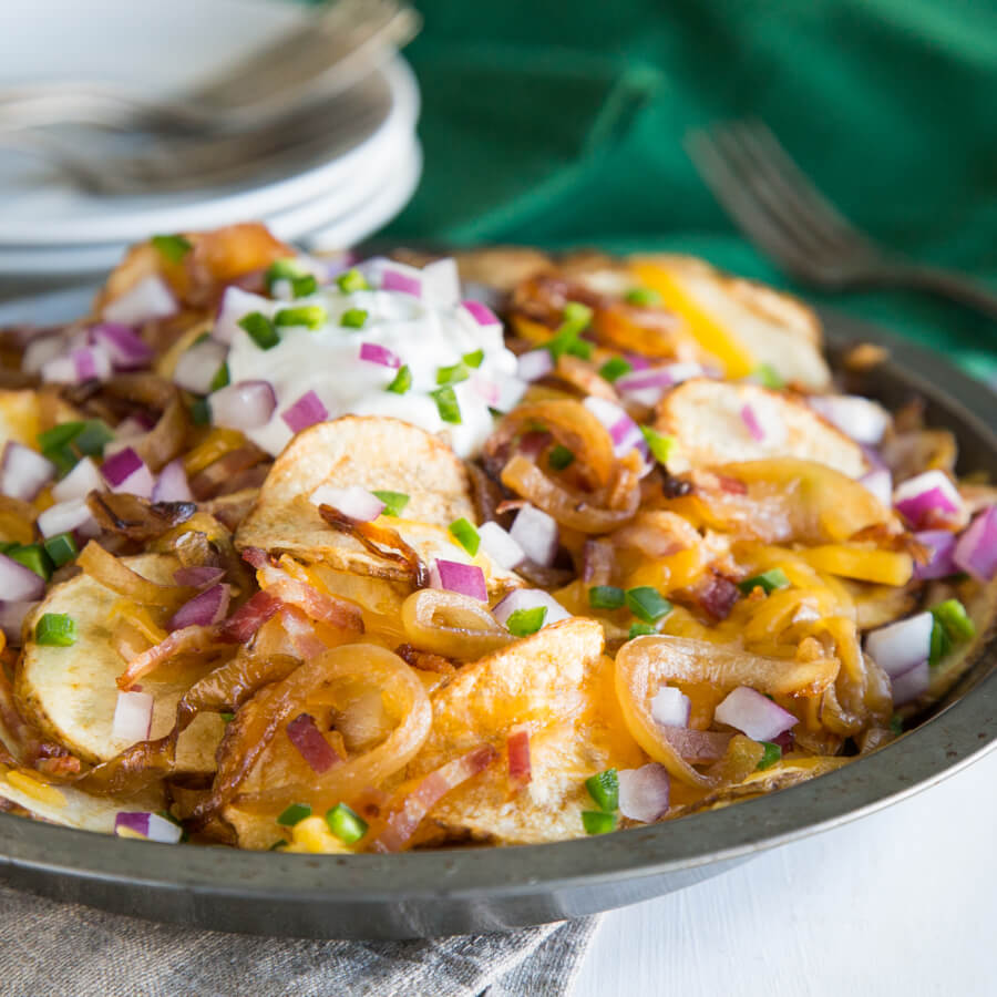 Irish Nachos with Cider-Braised Onions by Lori Rice for National Onion Association
