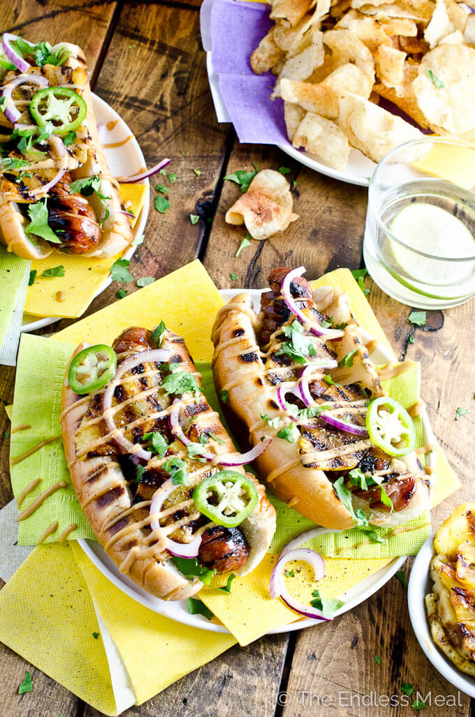 Teriyaki Recipes | Hawaiian Hot Dogs with Grilled Pineapple and Teriyaki Mayo from The Endless Meal