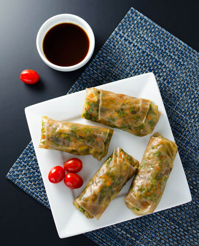 Teriyaki Recipes   Teriyaki Veggie Spring Rolls Recipe from Veggie Primer