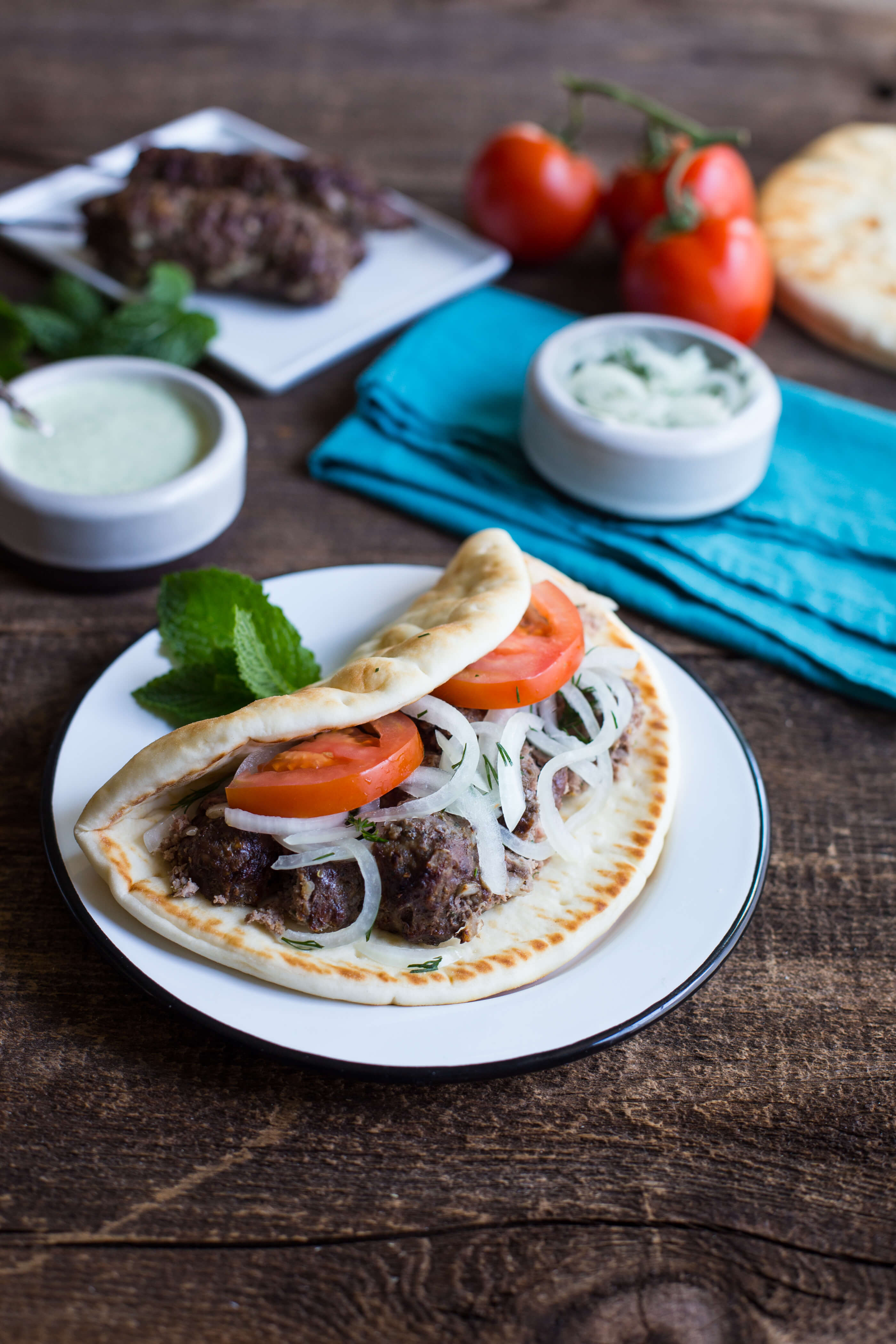 What a wonderful way to enjoy the taste of raw onions with this fabulous Grilled Beef Gyros with Marinated Onions dish. Easy to make and devour.  #OnionsintheRaw