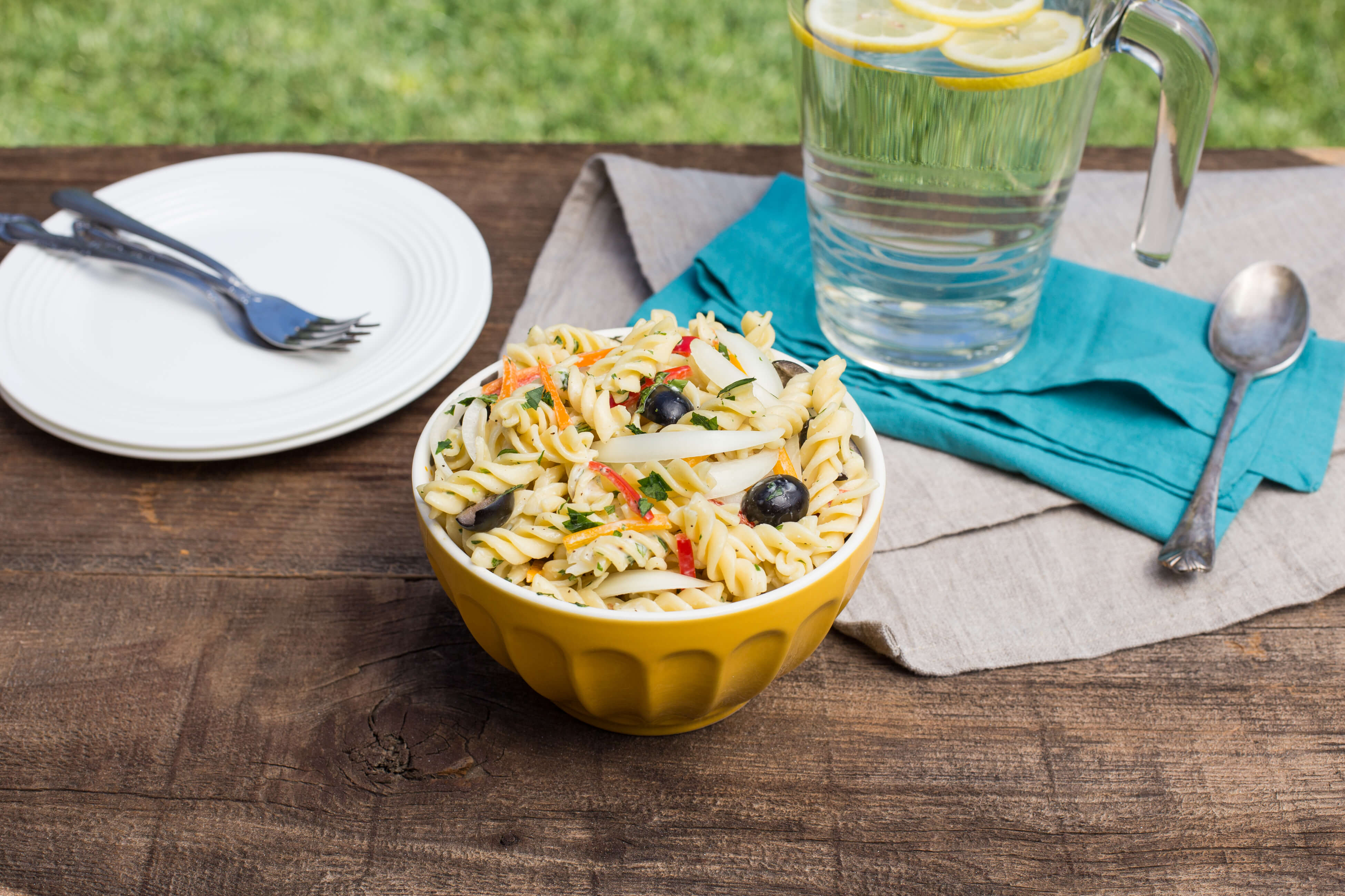 This Sweet Onion Pasta Salad with Creamy Herb Dressing is perfect for a light dinner, side dish or lunch. The touch of sweet onions is perfection.
