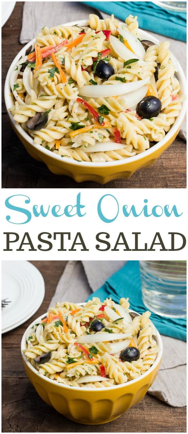 This Sweet Onion Pasta Salad with Creamy Herb Dressingis perfect for a light dinner, side dish or lunch. The touch of sweet onions is perfection.