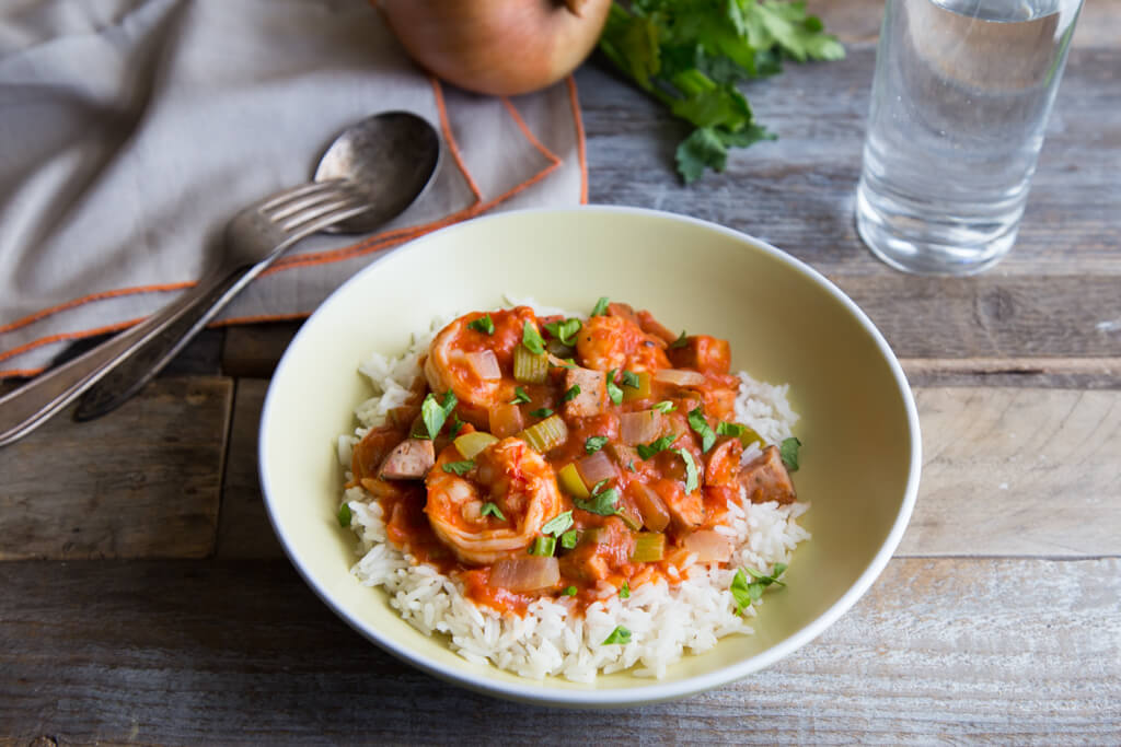 This Shrimp and Chicken Sausage Gumbo recipe starts with the Cajun Holy Trinity of onions, celery, and green bell peppers! Get the recipe at onions-usa.org.