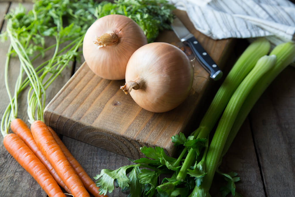 Onion cooking tips: The French mirepoix is a flavorful mix of onions, carrots, and celery used to start delicious recipes like soups and stews.