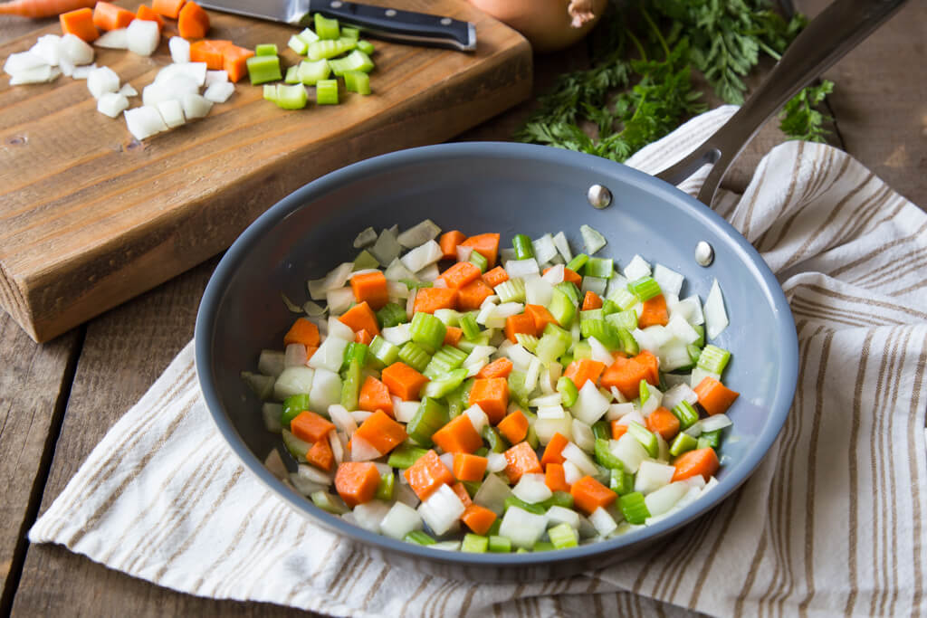 A mirepoix (a mix of onions, carrots, and celery) ready to be cooked as the start to many delicious recipes! Read more about Onions Around the World at onions-usa.org!