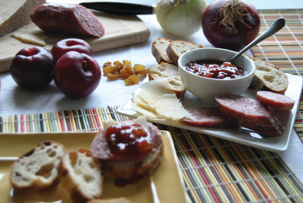 Asian Plum chutney with meats, breads and cheeses