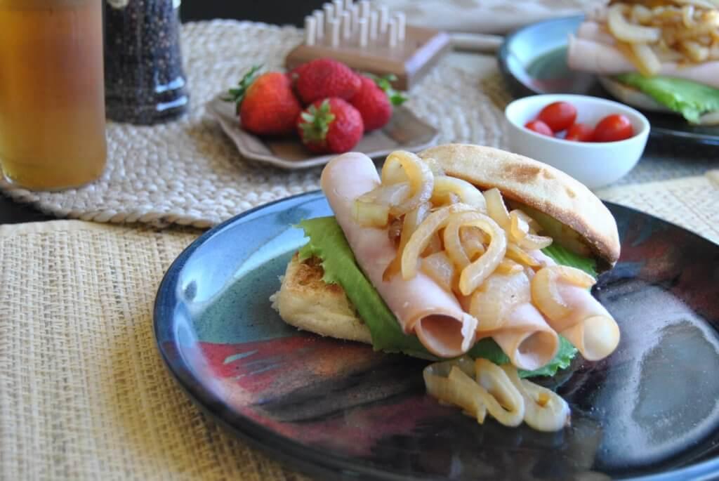 Turkey sandwich with caramelized onions