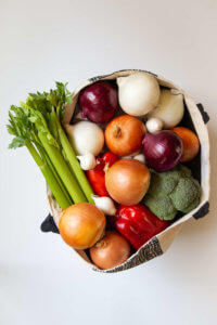 Bag of onions and vegetables - nutrition