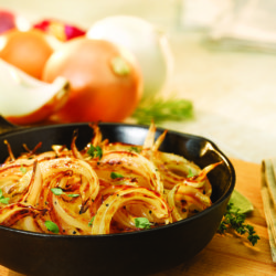 Caramelized onions in cast iron skillet