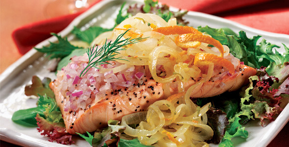 Chilled Salmon Salad with Orange Citrus Onions National Onion Assocuiation