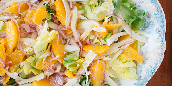 Escarole Salad with Oranges and Red Onion National Onion Association
