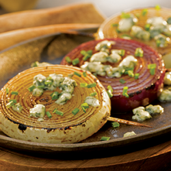 Grilled Balsamic Onions with Bleu Cheese Crumbles