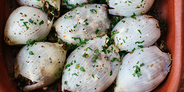 Roasted Onions Stuffed with Lentils, Feta and Prunes National Onion Association