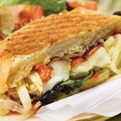 Spicy Onion Panini with Basil and Roasted Red Pepper National Onion Association