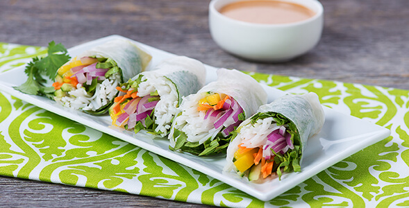 Thai Salad Rolls with Spicy Peanut Dipping Sauce National Onion Association