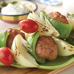 Turkey and Onion Meatball Kebabs with Yogurt Dipping Sauce National Onion Association