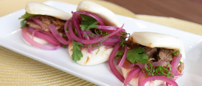 Chinese Style Bao Bun with Pickled Red Onion National Onion Association