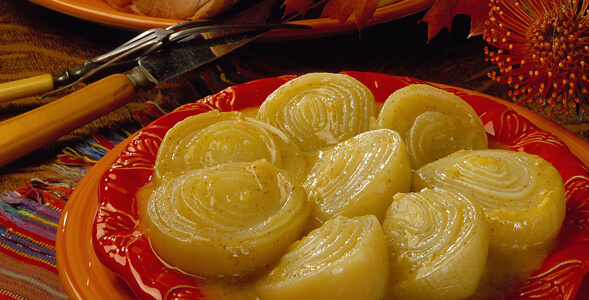 Fall Onions with Gingery Cider Sauce