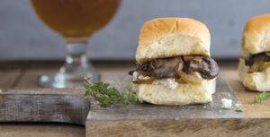 Maibock Mushroom, Caramelized Onion and Goat Cheese Sliders National Onion Association