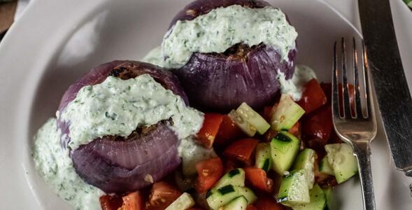 Roasted Greek Stuffed Red Onions National Onion Association