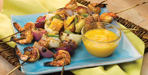 Teriyaki Grilled Skewers with Mango Dipping Sauce National Onion Association