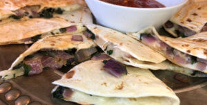 Quesadillas with Jalapeno Jack and Fresh Chard National Onion Asociation