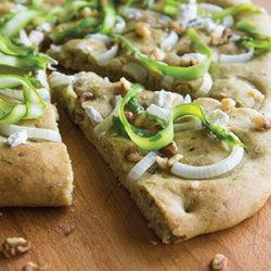 Pesto Onion Asparagus Flatbread