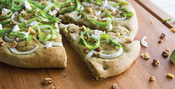 Pesto Onion Asparagus Flatbread