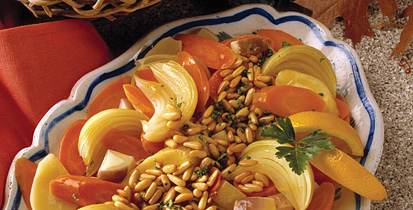 Winter Root Vegetables with Pine Nuts National Onion Association