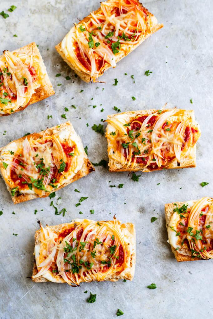 Crusty Onion Bruschetta pieces