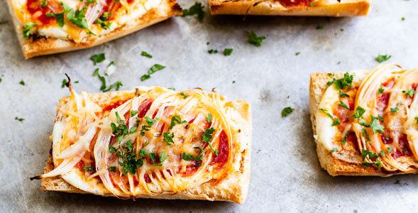 Crusty Onion Bruschetta slices