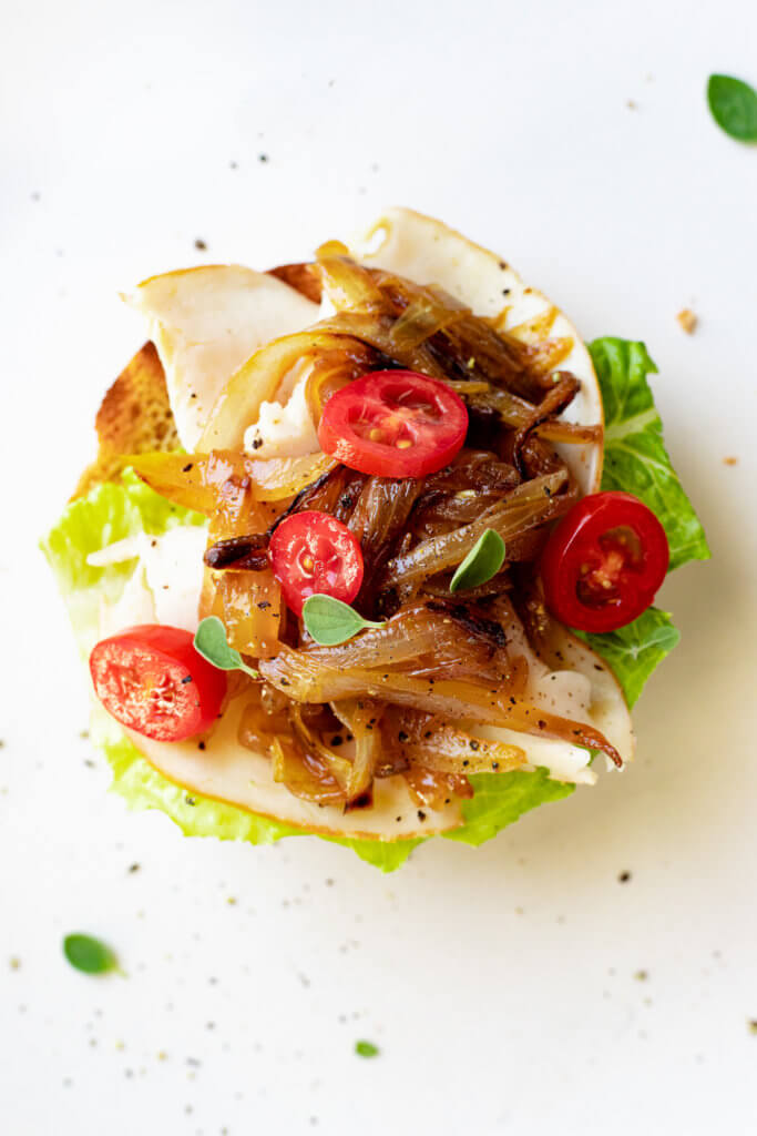 Open Faced Turkey Sandwich with Caramelized Balsamic Onions