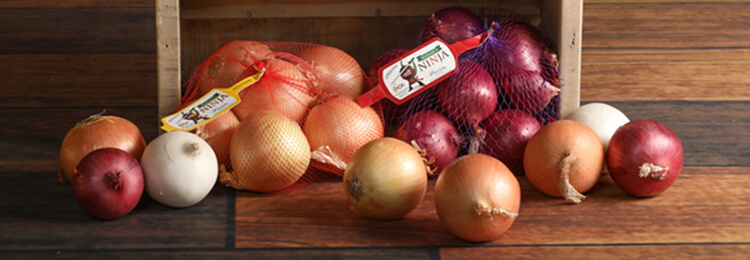 Bagged Onions with Natures Ninja labels