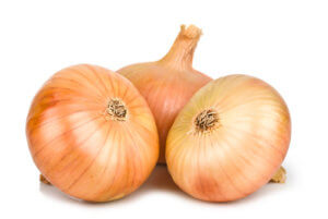 Three Sweet Onions on white background