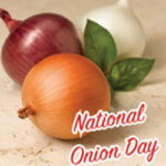 three onions on marble with the words National Onion Day