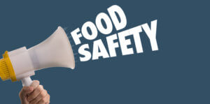 "bullhorn with words, ""Food Safety"""