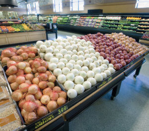 onions in grocery produce department