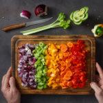 Plant-forward vegetables on a cutting board