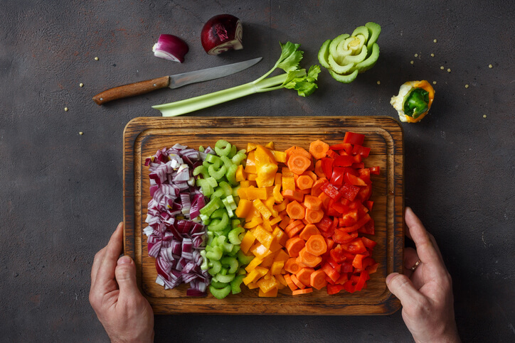 Plant-forward vegetables on a cutting board