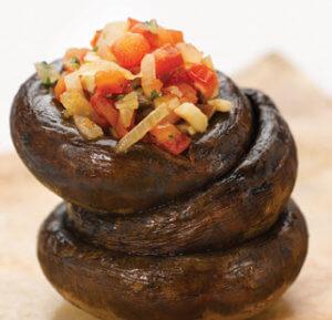 Sauteed Mushroom n Onion Salsa on a mushroom stack