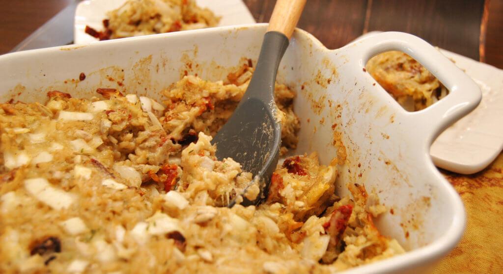 Savory Rice Nut Casserole in dish