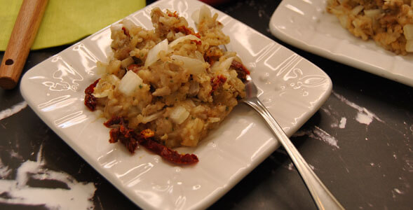 Savory Rice-Nut Casserole on white plate